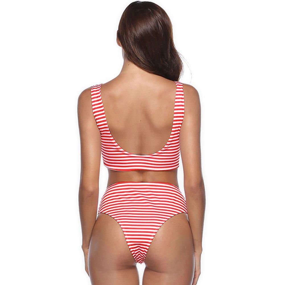 17a33d57efd ... COSPROFE Womens Striped High Waist Thong Bikini Set Tie Knot Front  Beachwear Two Piece Swimsuit ...