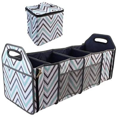 Car Trunk Organizer with Insulated Cooler Bag - Collapsible Storage Basket Front or Backseat with Compartments for Emergency Supplies or Shopping Best Gift: Home & Kitchen