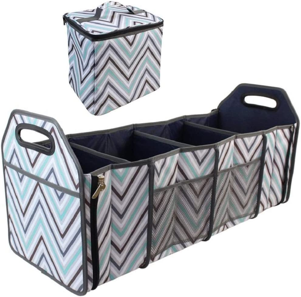 Car Trunk Organizer with Insulated Cooler Bag - Collapsible Storage Basket Front or Backseat with Compartments for Emergency Supplies or Shopping Best Gift