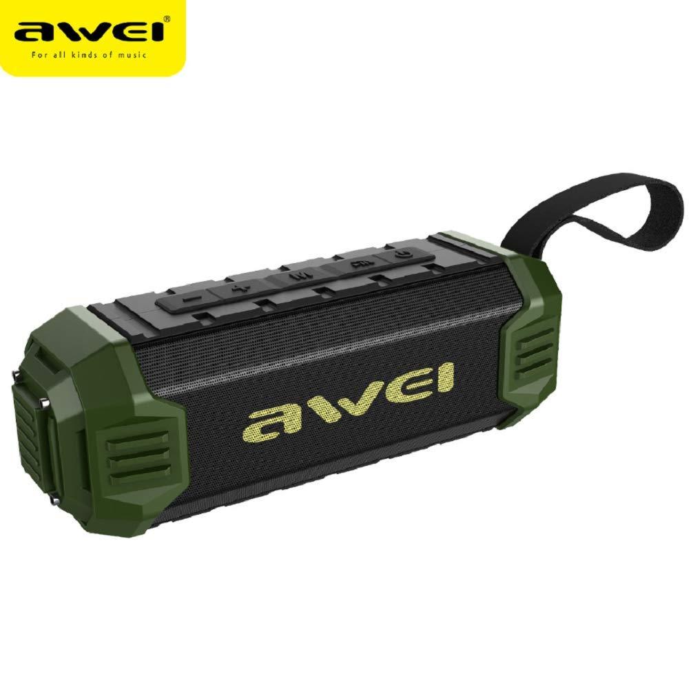 WSJ AWEI Y280 ワイヤレス充電Bluetoothスピーカー ポータブル + TFカード + FM + モバイル電源 + HDコール 多機能防水スピーカー, グリーン, 169-484  グリーン B07L5GCP5J