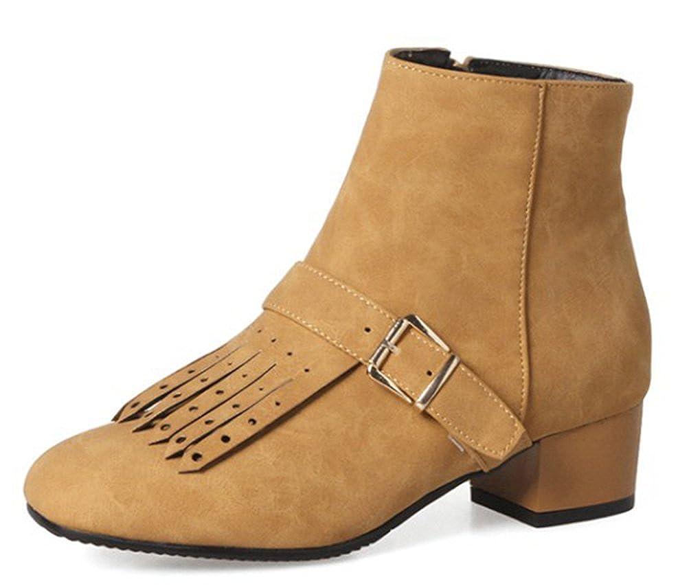 Easemax Easemax Easemax Damen Modisch Quadratisch Zehe Quaste Riemen Kurzschaft Stiefel 162d9a