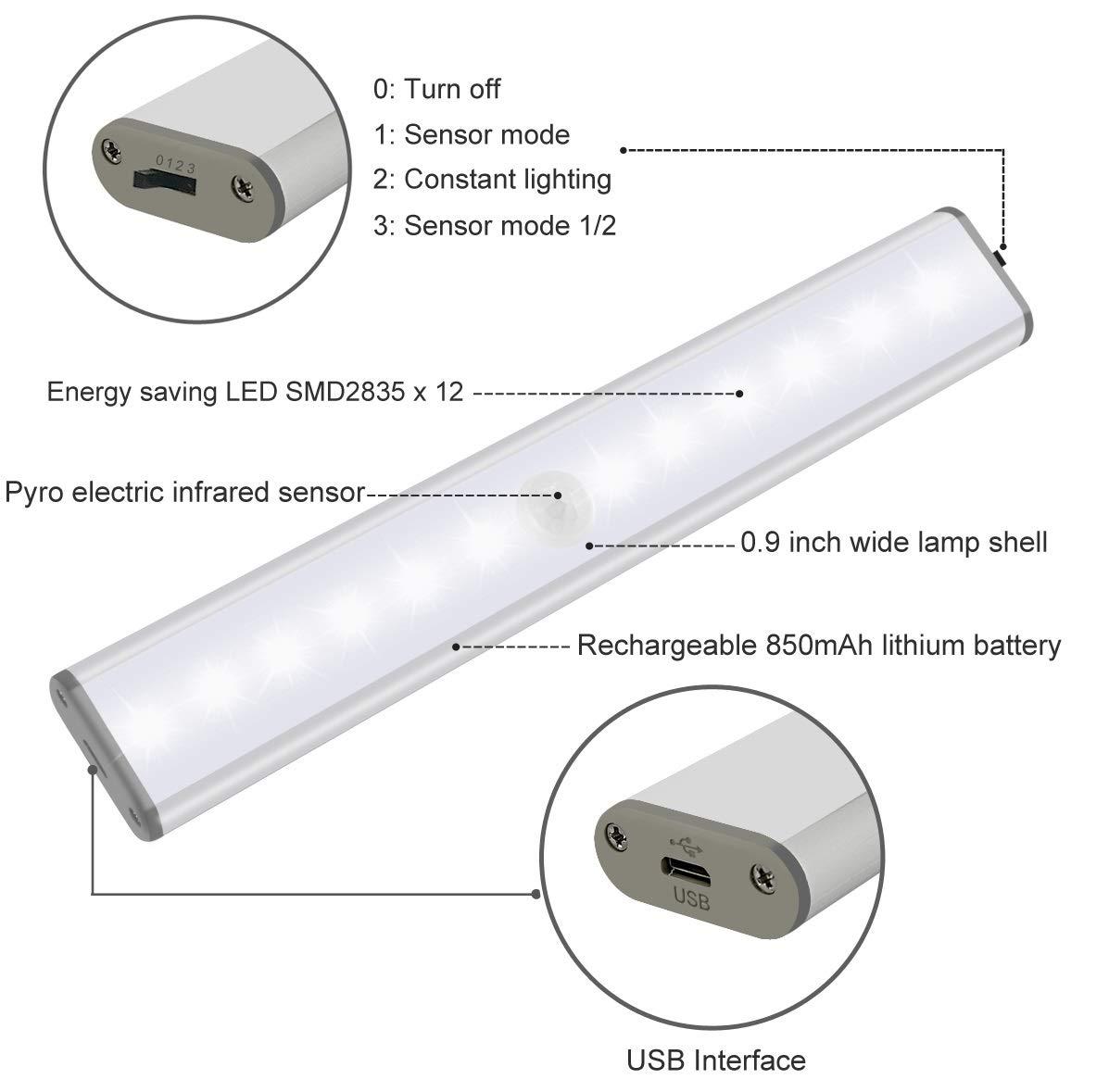 Sensor de Movimiento de Luz de Gabinete, Luz LED de Armario USB Recargable Magnético Stick-on Anywhere para el Armario, Cajón, Armario, Escaleras - No ...
