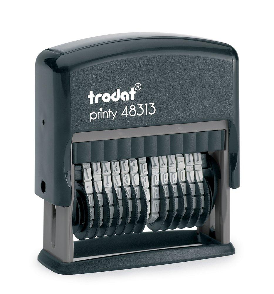 Trodat Printy 48313 - Sello para cifras (13 cifras, tamaño de tipo 3,8 mm) color negro 98
