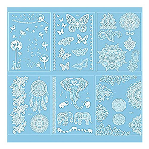Pinkiou Henna Tattoo Stickers Lace Mehendi Temporary Tattoos for Maverick Women Teens Girls Metallic Tattooing Pack of 6 (white)