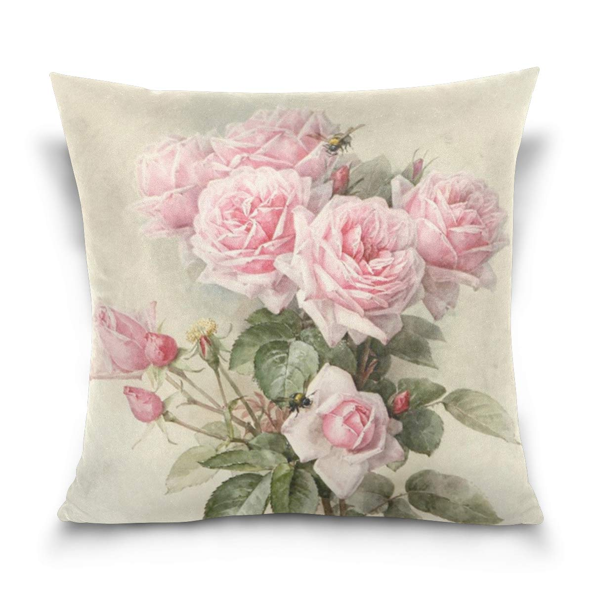 ZOEO Square Decorative Throw Pillow Case Cushion Cover,Vintage Shabby Chic Pink Rose Floral,Soft Pillowcase 16x16 inch