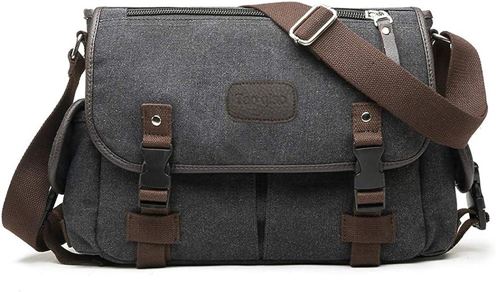 Messenger Bag for Men Canvas 14 15.6 Inch Laptop Briefcases Shoulder Vintage Crossbody Bookbag