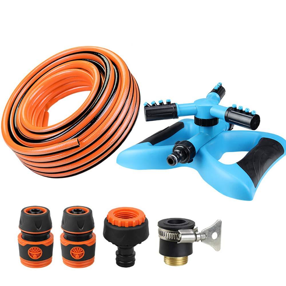 GXFC Irrigatore per irrigazione da Giardino, irrigatore a rossoazione Automatica a 3 Bracci rossoante a 360 ° per Cantiere, con connettore rapido e Tubo da Giardino (Blu),L