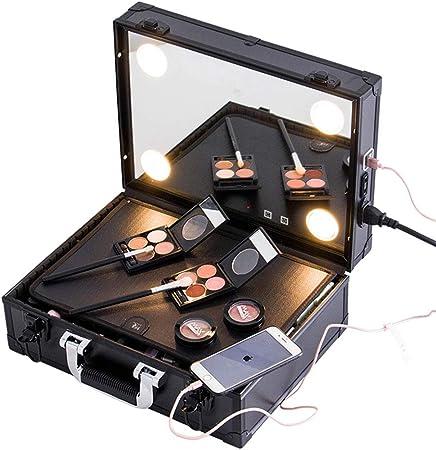 Estuche cosmético Estuche de Maquillaje Profesional, Almacenamiento de cosméticos, Kit de uñas, Espejo de Carga de Carga, con luz Ajustable, protección de radiación LED: Amazon.es: Hogar