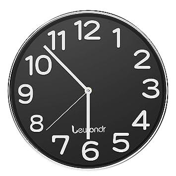 Lewondr Reloj de Pared, Reloj Silencioso Redondo de 12 Pulgadas, Reloj Moderno Que sin