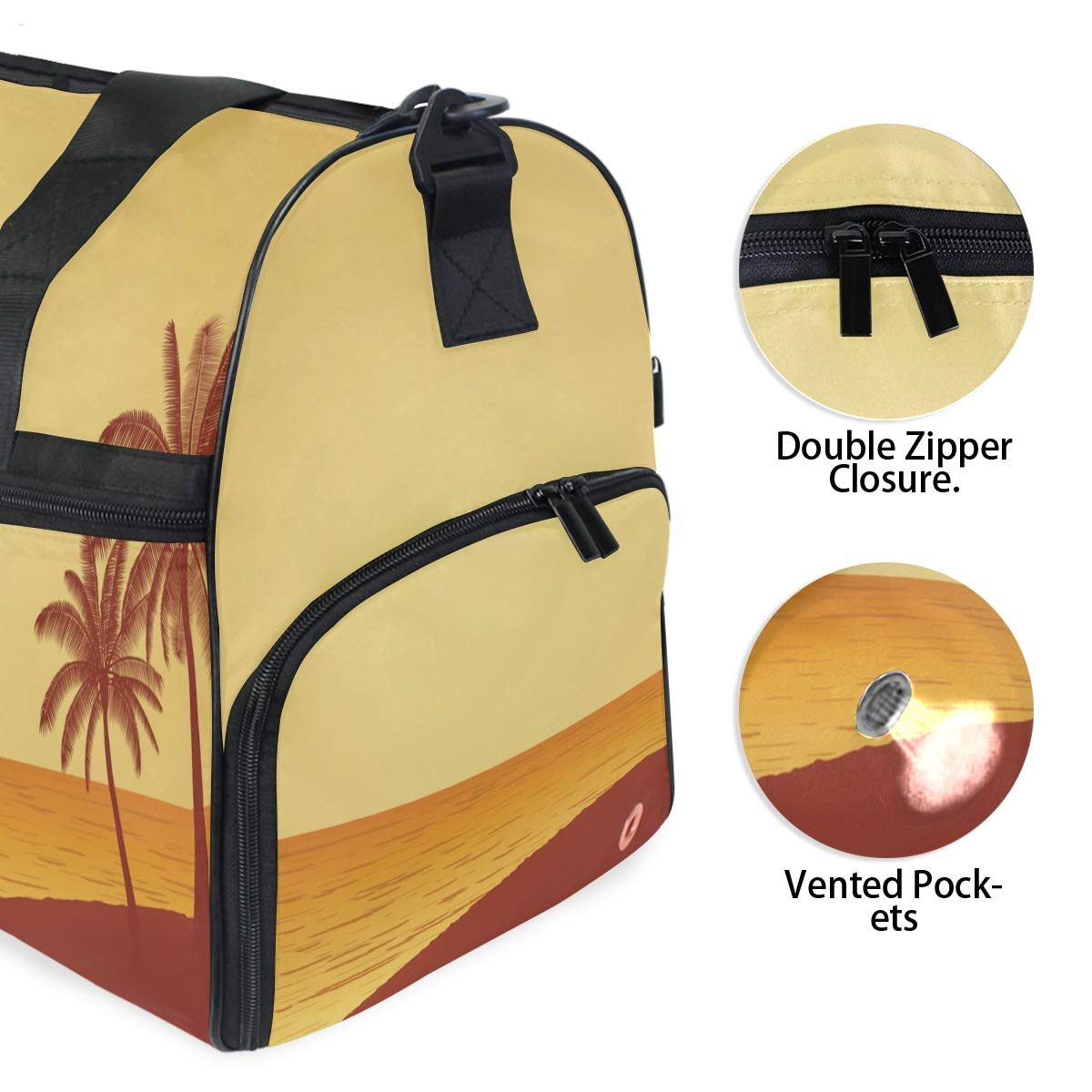 Gym Travel Duffel Bag Palm Tree On Beach Sailboat Waterproof Lightweight Luggage bag for Sports Vacation