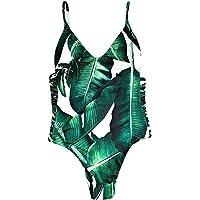 ZAFUL Donna Un Pezzo Bikini con Cinturino da Spaghetti Motivo a Foglia