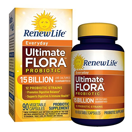 Renew Life Adult Probiotic - Ultimate Flora Everyday Probiotic, Shelf Stable Probiotic Supplement - 15 Billion - 90 Vegetable Capsules
