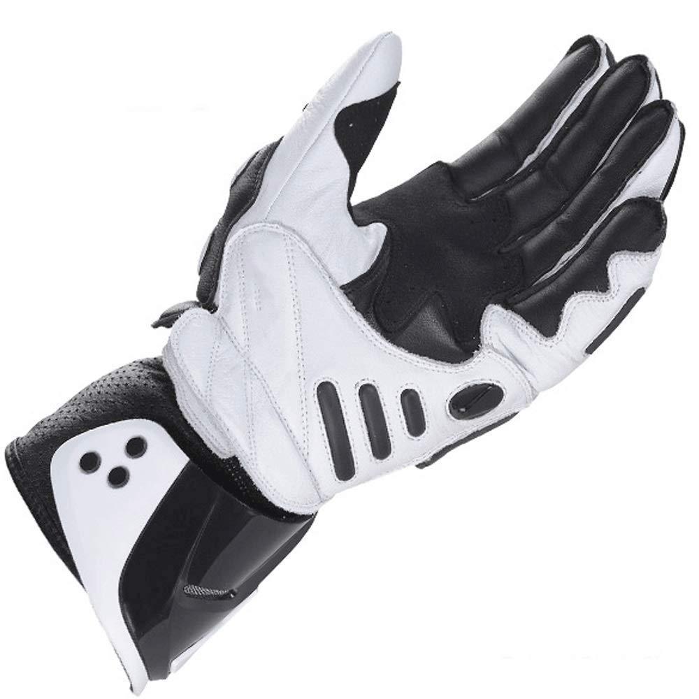 ZXT Motorcycle Long Gloves Racing Driving Motorbike Guanti Originali in Pelle Bovina Colore : Black White, Dimensioni : M
