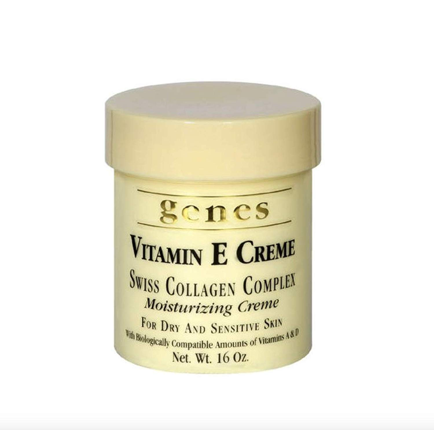 Genes Vitamin E Creme Swiss Collagen Complex Moisturizing Creme for Dry and Sensitive Skin 16 oz (2 Pack (16 oz.))