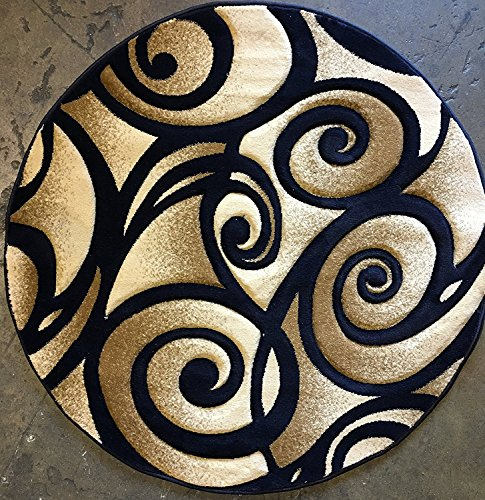 - Modern Round Abstract 400,000 Point Area Rug Navy Blue Swirl Contempo Design 341 (4 Feet X 4 Feet )