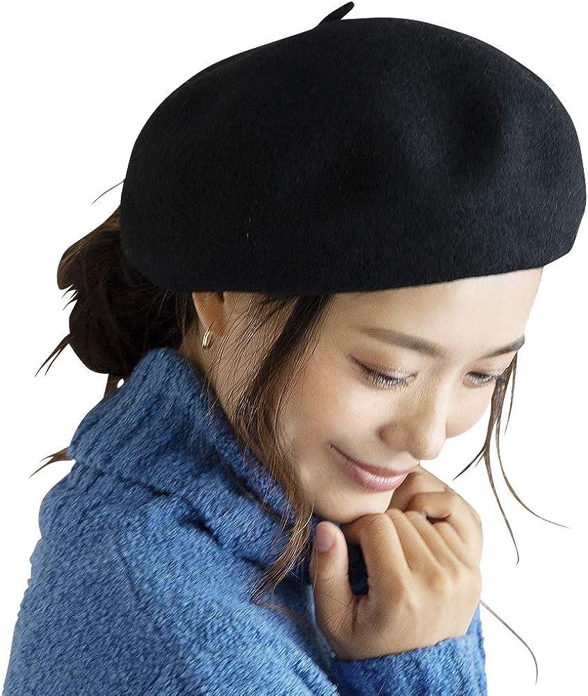 メリノウール ころころ ベレー帽 【ネイビー】 帽子