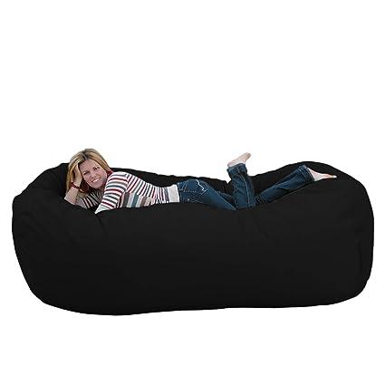 Bon Cozy Sack 8 Feet Bean Bag Chair, X Large, Black
