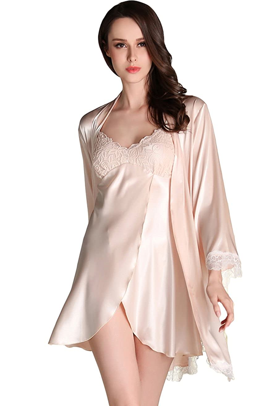 1557498209 Awaye Satin Nightgown with Robe Solid Lace Silk Like 3/4 Sleeve Night Gown  Two Piece Suit Short Slip Sleepwear at Amazon Women's Clothing store: