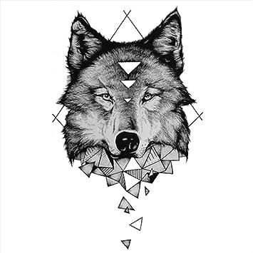Tatuajes temporales con diseño de lobo descomposición geométrica ...
