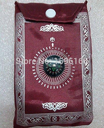 1pc Pocket Prayer Rug Mat Islamic Qibla Finder Compass Sajjada Janimaz Musallah Eid