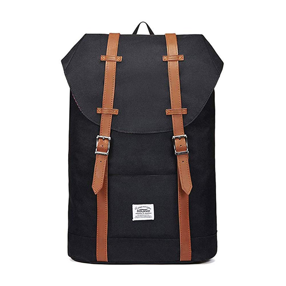 Lightweight Outdoor Backpack, KAUKKO Travel Casual Rucksack Laptop Daypack for 15 BLACK