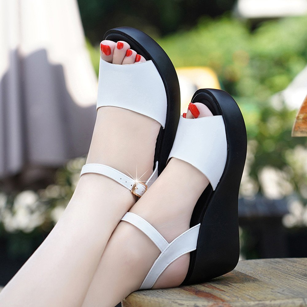 Clearance Sale Shoes For Women ,Farjing Fashion Women Fish Mouth Platform High Heels Wedges Sandals Buckle Slope Shoes(US:7.5,White) by Farjing (Image #3)