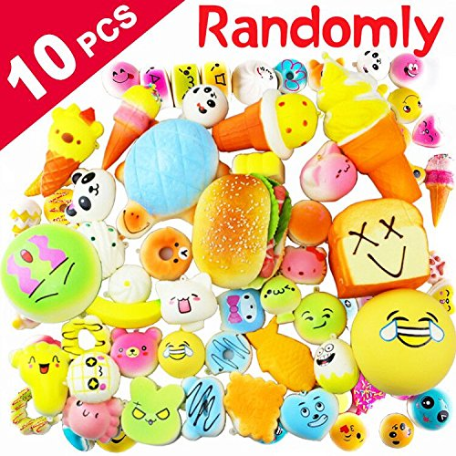 10 Pack Squishies Slow Rising 1 Jumbo + 3 Medium + 6 Mini Stress Reliever Scented Cake Bread Donut Bun Panda Fruit Squishy with Chain for Backpack Cell Phone Party Favors Kids Toys by Hyanwoo (Ideas Party Random)