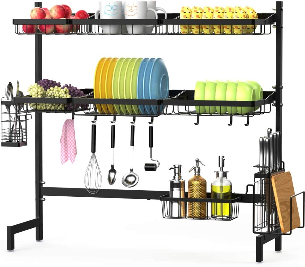 Over the Sink Dish Drying Rack, F-color 3 Tier Large Stainless Steel Dish Drying Rack for Kitchen Counter, Dish Drainer Shelf with Utensils Holder, Black