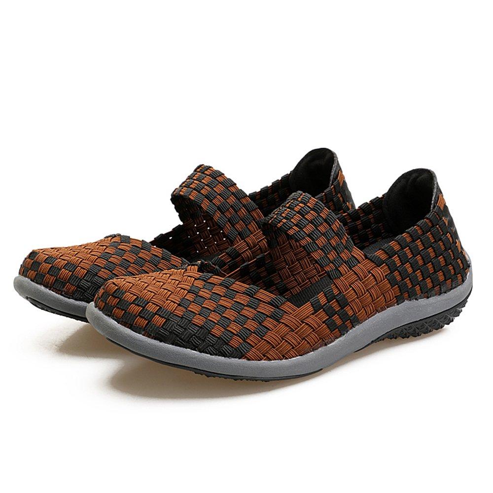 YMY Women's Woven Sneakers Casual Lightweight Sneakers - Breathable Running Shoes B07DXNKK3J US B(M) 10 Women|Brown1