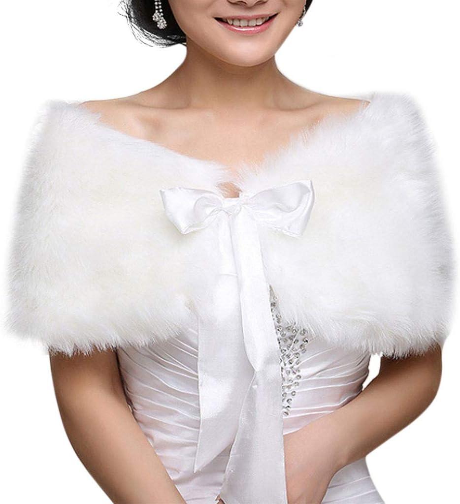 VIccoo Frauen Winter One Size Warm Kunstpelz Cape Mantel Hochzeit Wrap Braut Schal Jacke Mantel Satinband Bowknot Lace Up Achselzucken Solid Color Wei/ß