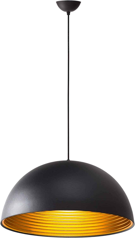 Lámpara Iluminación colgante moderna nordica Rosca E27 para el Restaurante Dormitorio Sala de Estudio Loft Pasillo 40 cm diámetro color negro y oro 45223