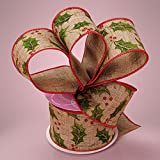 Premium Natural Wide Christmas Ribbon - 2 1/2 Inches by 10 Yards (MULTI HOLLY LEAVES)