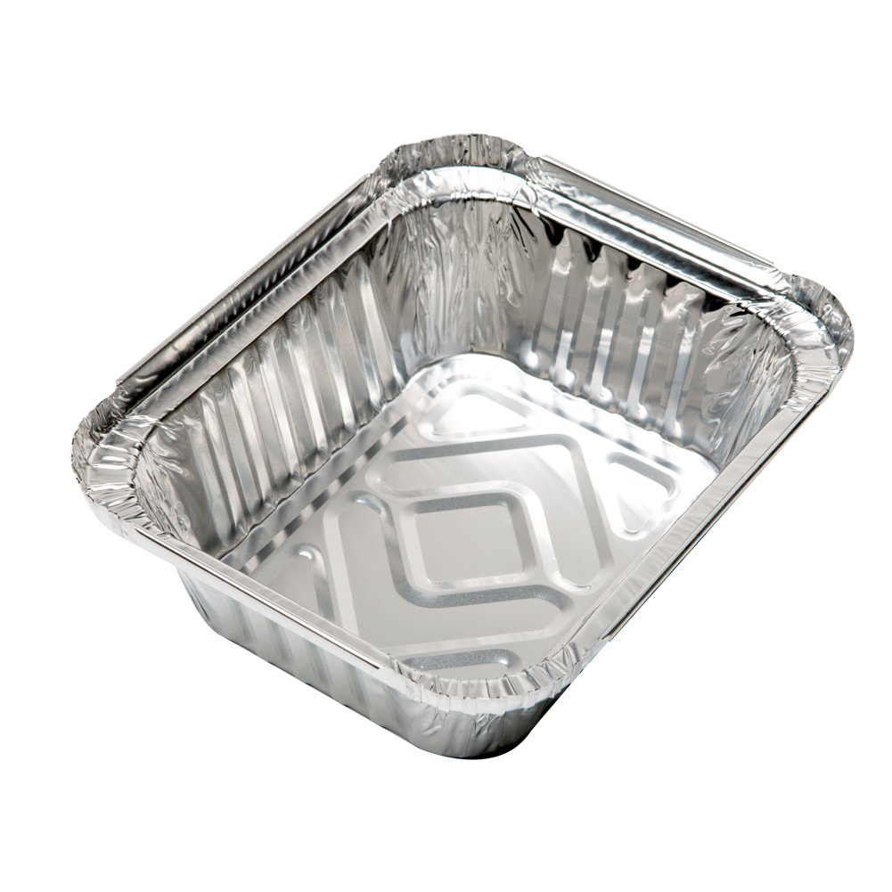 XIAFEI New Disposable Durable Aluminum Oblong Foil Pan, Take-Out Pans, Pack of 50 with PET Plastic Lids by XIAFEI (Image #4)