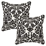 Pillow Perfect Decorative Black/Beige Damask Toss Pillows, Square, 2-Pack