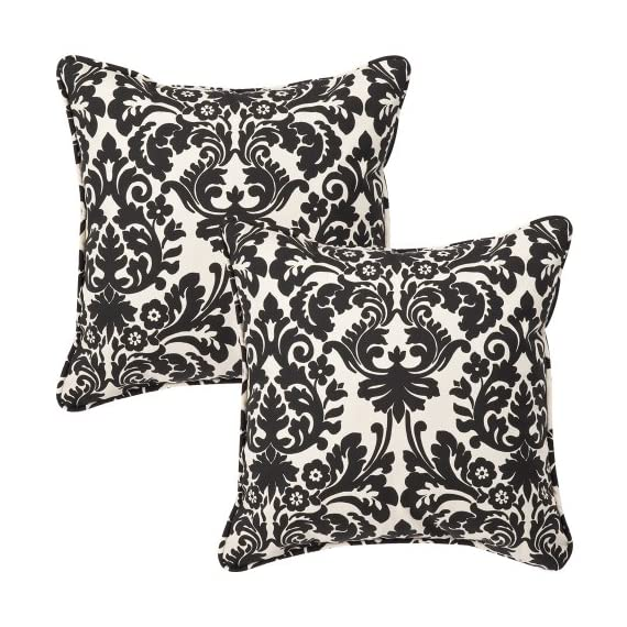 Pillow Perfect Decorative Black/Beige Damask Toss Pillows, Square, 2-Pack - Includes two (2) outdoor pillows, resists weather and fading in sunlight; Suitable for indoor and outdoor use Plush Fill - 100-percent polyester fiber filling Edges of outdoor pillows are trimmed with matching fabric and cord to sit perfectly on your outdoor patio furniture - living-room-soft-furnishings, living-room, decorative-pillows - 61WlAdd6UrL. SS570  -