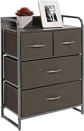 mDesign Cómoda para dormitorio con 4 cajones – Mueble con cajones ancho para el salón, la habitación o el pasillo – Cajonera de metal, MDF y tela para guardar ropa – gris: Amazon.es: Hogar