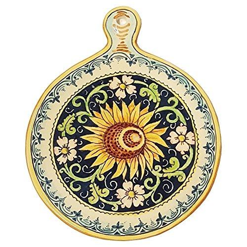 CERAMICHE PARRINI - Italian Ceramic Art Utensil Kitchenware Tile Trivet Pottery Sunflower Hand Painted Made in ITALY (Kitchenware Tin)