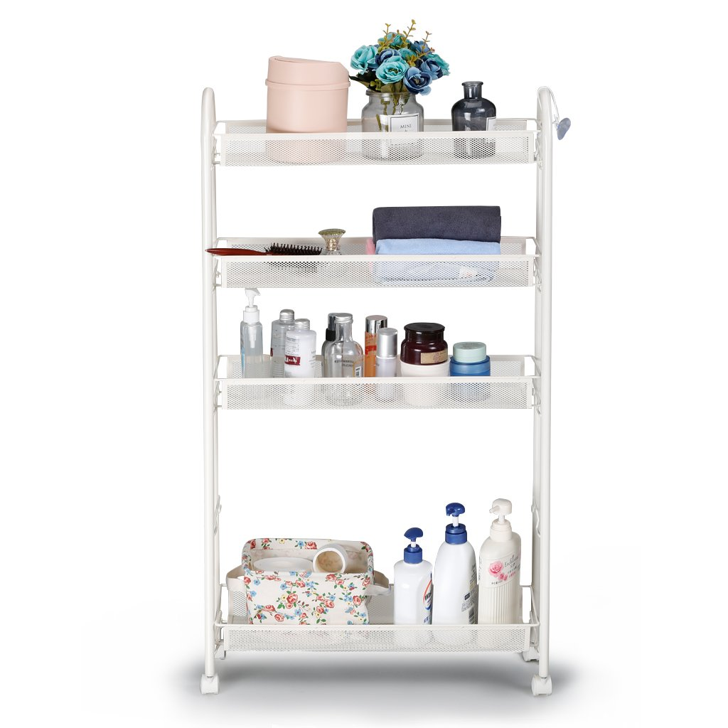 Rackaphile 4-Tier Slim Slide Out Storage Tower Rack Mesh Rolling Organization Serving Cart Shelf for Narrow Spaces Roller, White