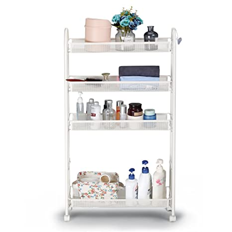 Rackaphile 5 Tier Slim Slide Out Storage Tower Rack Mesh Rolling  Organization Serving Cart Shelf