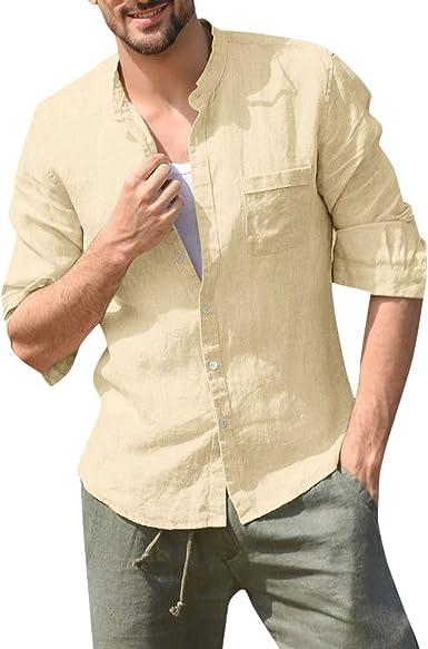 SoonerQuicker Camisas de Hombre T Shirt tee Baggy de algodón para Hombres Lino Sólido Botón de Manga Larga Bolsillo con Soporte Camisa con Cuello Tops: Amazon.es: Ropa y accesorios
