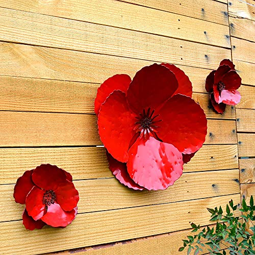Giant Wall Hanging Poppy Set of 3 Red Metal Flowers Perfect Wall or Privacy Fence Accent