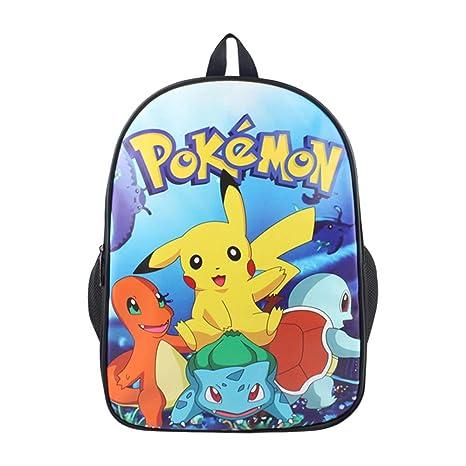 Pokemon Mochila Casual Mochilas de Colegio Viaje Impresión Mochilas Escolares Popular Mochila para Deportes al Aire
