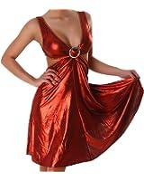 Kleid Cocktailkleid V-Ausschnitt Leder-Optik Wet-Look Schnalle Einheitsgröße (34,36,38) - verschiedene Farben