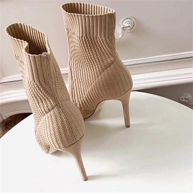Running cheetah Damen Strick Socken Stiefel Stiletto High