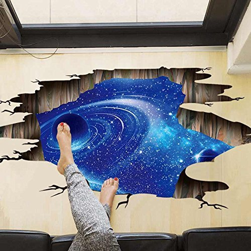 Amaonm Creative 3D Blue Vastness Universe Sky Planet Space Wall Decals Mural Removable DIY Wall Stickers Decor for Home Walls Floor Ceiling Kids Nursery Room Boy Girls Bedroom Bathroom Living Room ()
