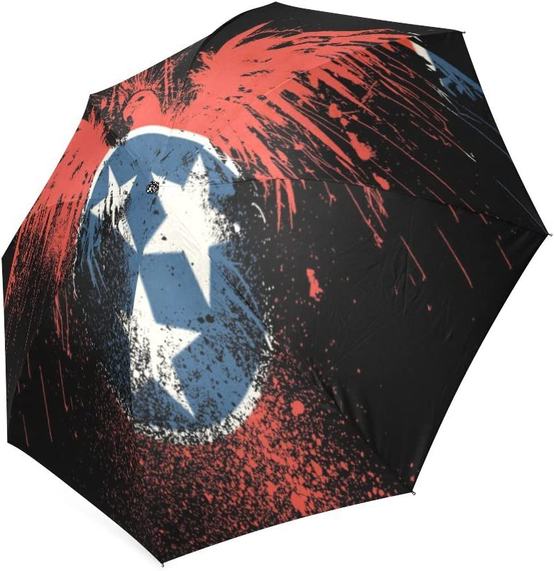 Custom Tennessean State Eagle Flag Compact Travel Windproof Rainproof Foldable Umbrella