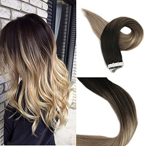 Full Shine 22'' Balayage Ombre Gule in Hair Extensions Color #1b Fading to Color #8 Ash Brown and Color #24 Light Blonde Skin Weft Highlight Balayage Color