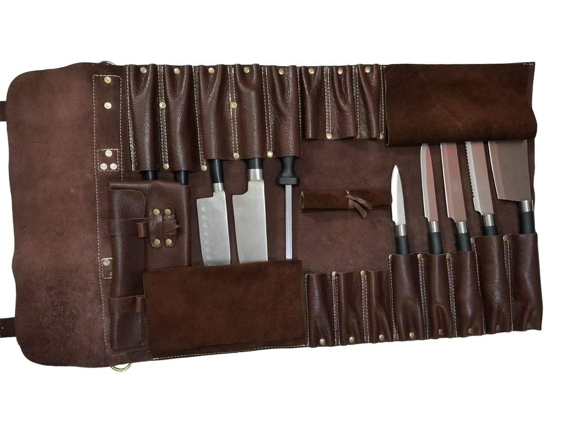 Amazon.com: Bolso para cuchillos de chef de piel auténtica y ...