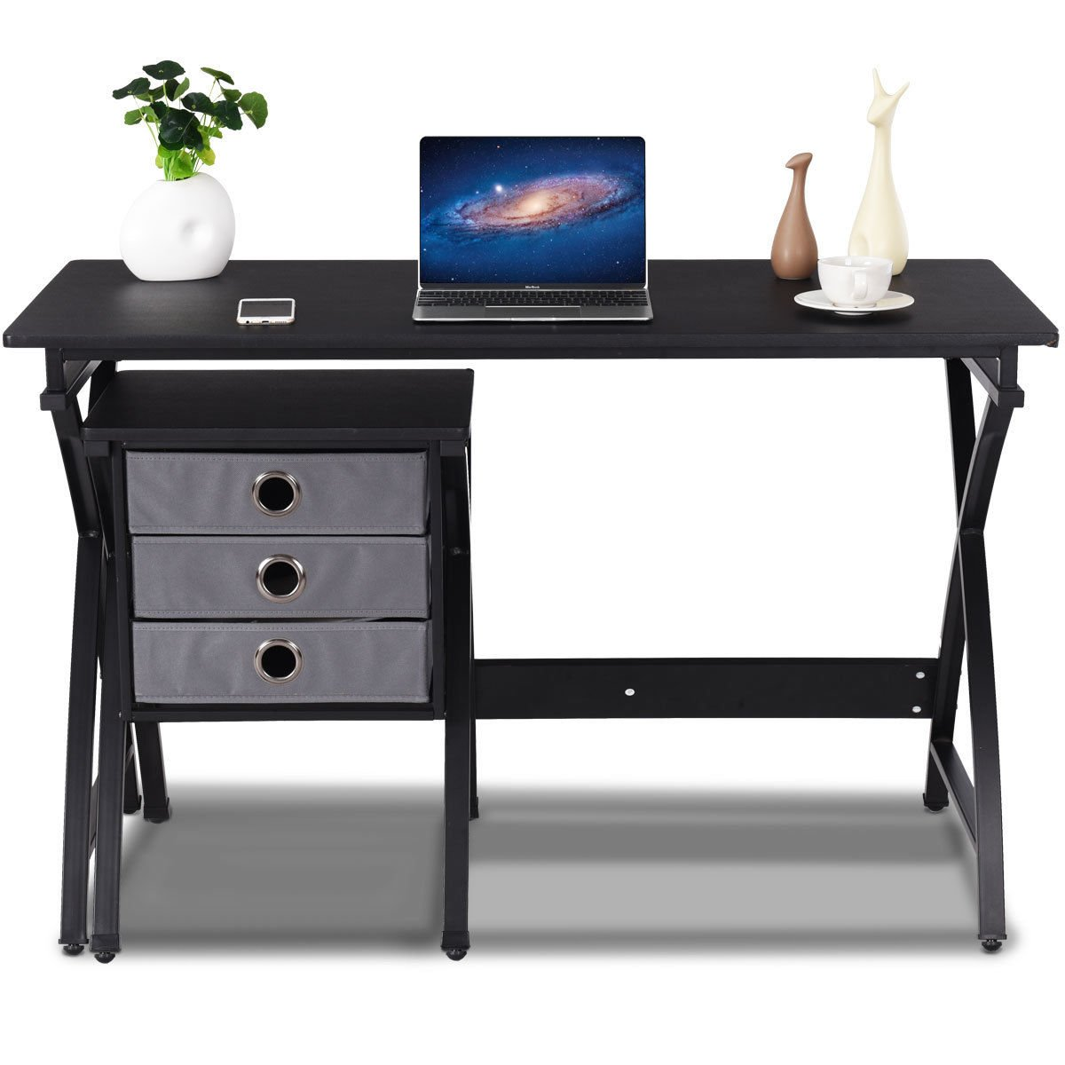 Tangkula Computer Desk Wood Top Writing Desk with Drawer Home Office Furniture (Black)