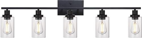 MELUCEE 40 Inches Length 5-Light Bathroom Vanity Light Fixtures Black Industrial Wall Sconce Lighting